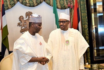 President of UN General Assembly, H.E. Tijjani Muhammad-Bande (Left) exchanges pleasantries with President Muhammadu Buhari (Right)