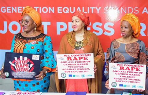 2nd left, Minister of Women Affairs, Pauline Tallen; UN Deputy Secretary-General Amina Muhammed and UN Women Representative to Nigeria and ECOWAS, Ms Comfort Lamptey