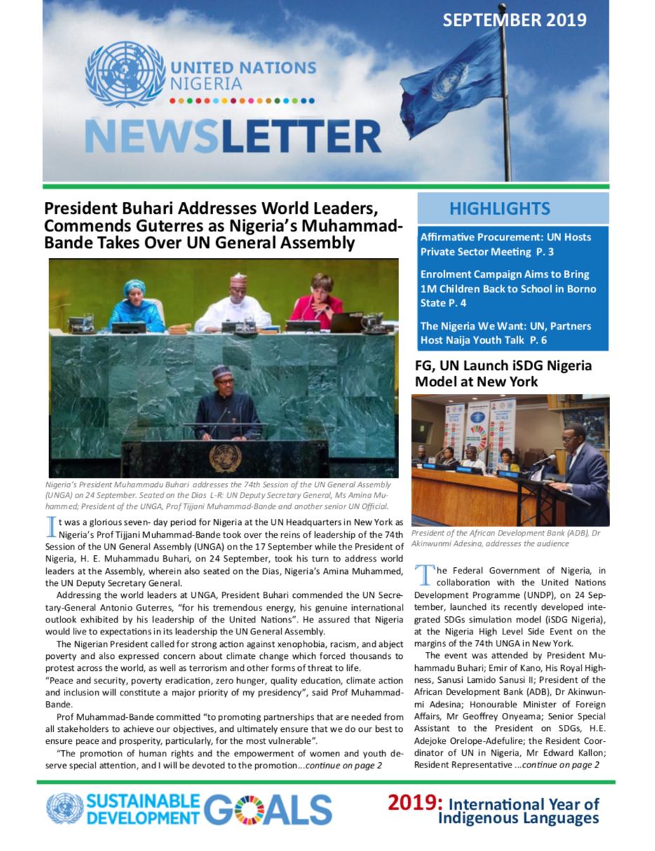 UN Nigeria Newsletter - Sept 2019