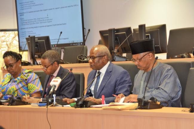 R-L: Minister of Health, Dr. Osagie Ehanire; UN Resident-Coordinator Edward Kallon; and other dignitaries at the meeting.