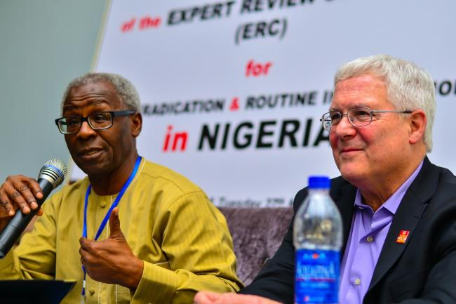 Prof Tomori (Left) chairing Expert Review Committee (ERC) review meeting with polio experts. Photo: WHO Nigeria/ Victor